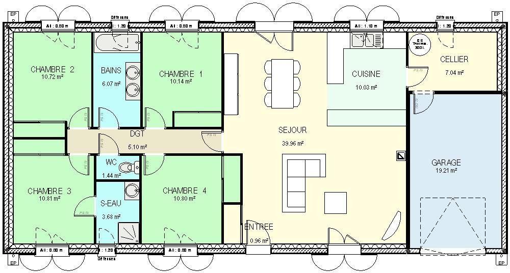 Résultats de recherche du0027images pour « maison plain pied 4 chambres - plan de maison rectangulaire plain pied