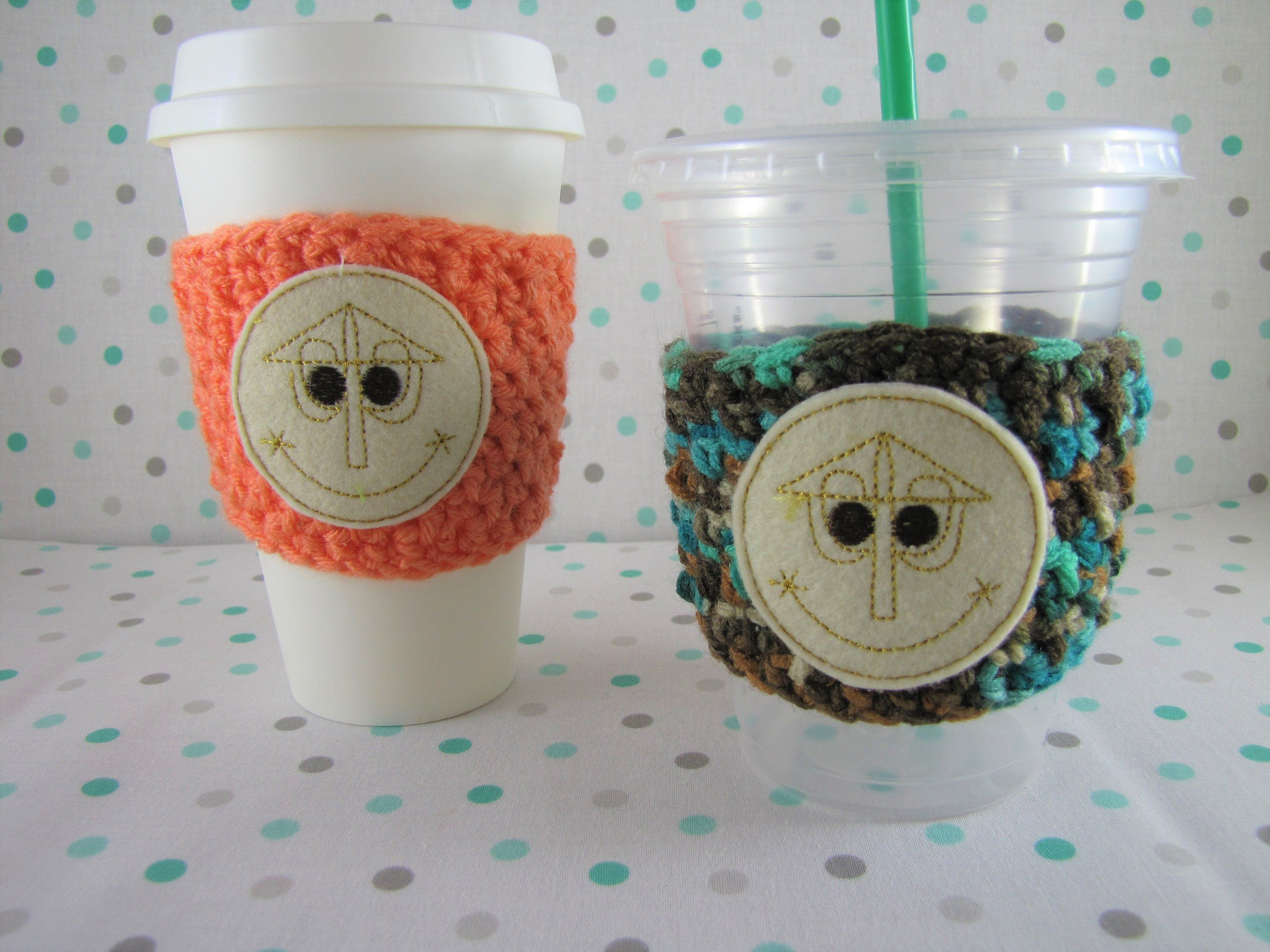 Small World Cup Cozy, Crochet Cup Cozy, Disney Cup Cozy, Coffee Cup Sleeve, Small World Clock Face, Small World Feltie, Starbucks Disney #disneycups
