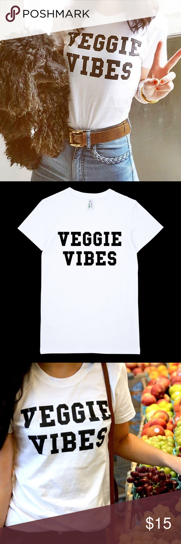 53454448e8 veggie vibes vegan statement tee shirt Wear Bare Bones Veggie Vibes Tee •••  Material- cotton Condition- Great Like New Condition Size S 100% Authentic  ...