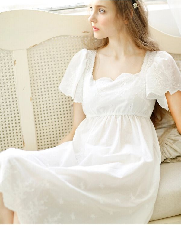 02afadeabe White Floral Cotton Nightgown Sleepwear