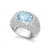 Diamond and Blue Topaz Bombe Ring by Kiki