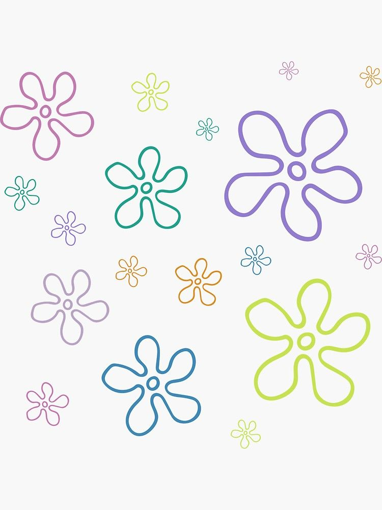 Spongebob Flower Sky : spongebob, flower, SpongeBob, Flowers, Sticker, Pack', LydiaJune, Table, Painted,, Table,, Designs