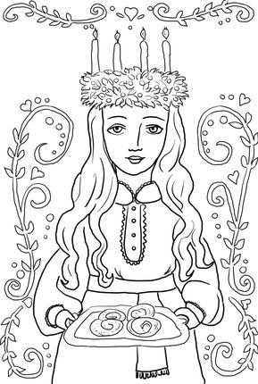 St Lucia Ornament Coloring Page Supercoloring Com St Lucia Day Santa Lucia Day Coloring Pages