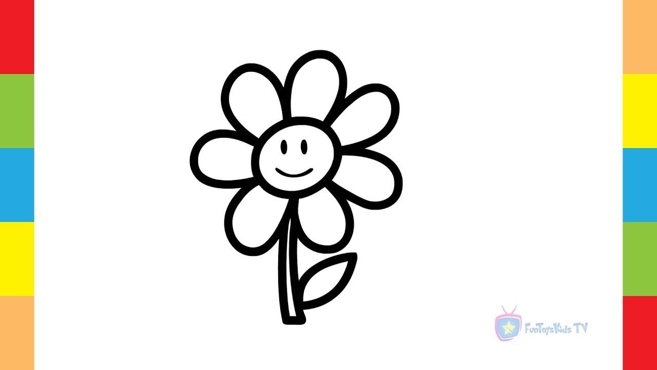 - Paint Coloring Pages - Drawing Page For Kids - Sketch Happy Flower