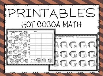 Free Hot Cocoa No Prep Math Printables By Mama Pearson Teachers Pay Teachers Math Printables Math Graphing Kindergarten