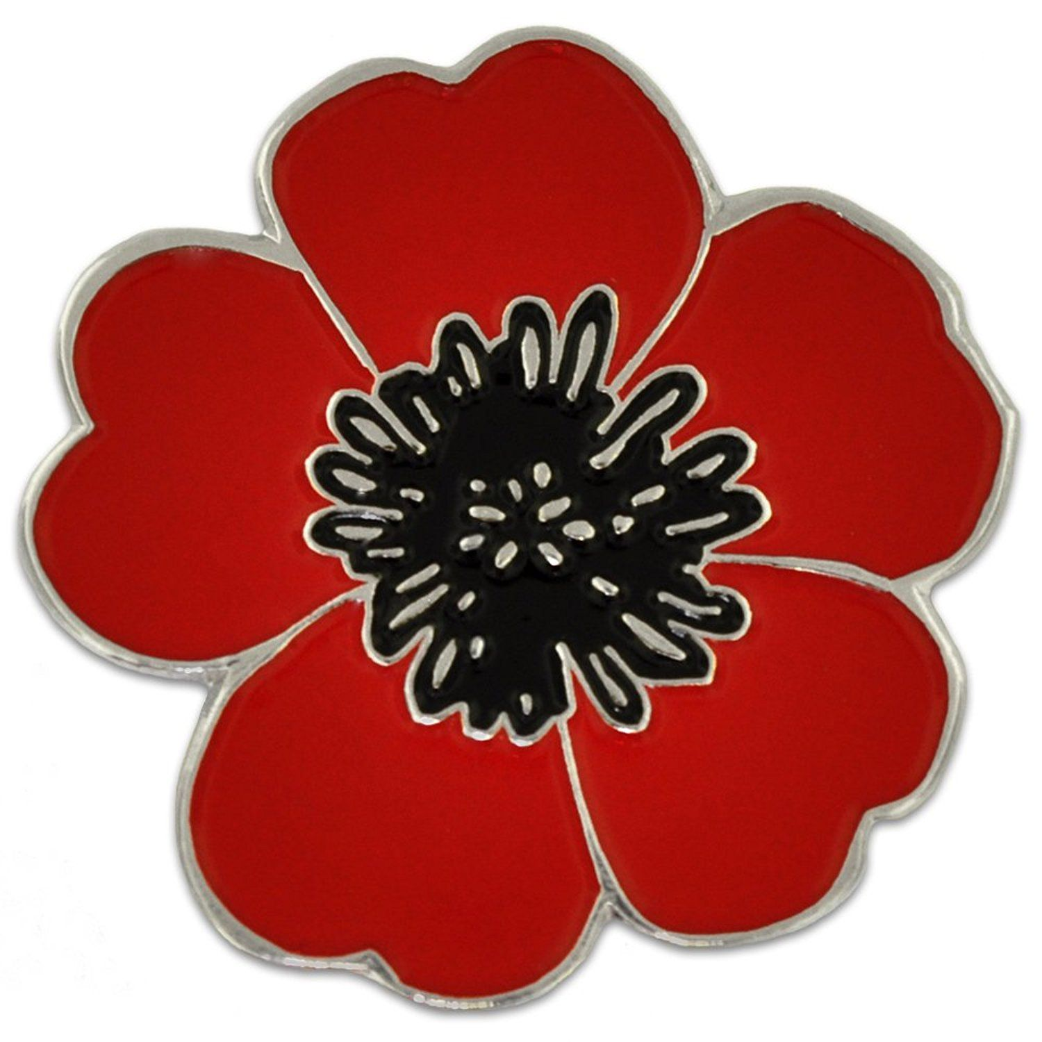Pinmarts Red And Black Poppy Flower Remembrance Memorial Day Enamel