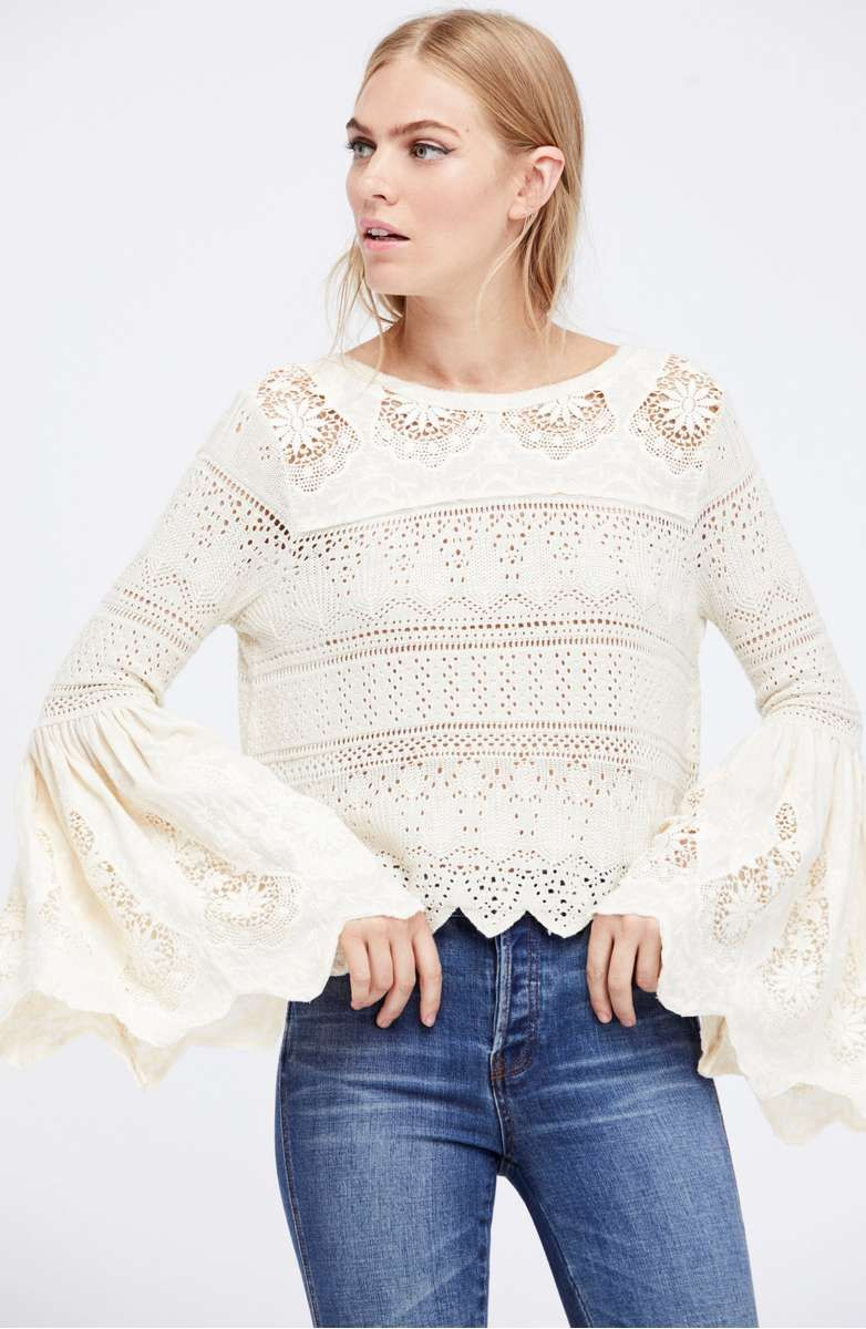 0d993aa627408 20 Trendy Lace Bell Sleeve Tops For Holiday Party Season!