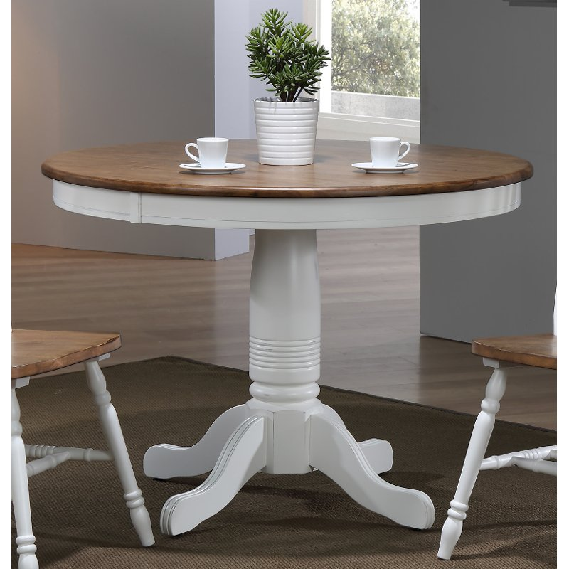 Modern Two Tone Brown And White Round Dining Table Pacifica
