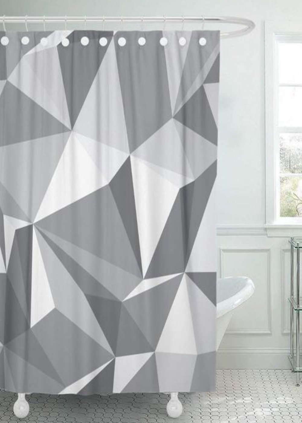 This Grey Geometric Shower Curtain Will Brighten Your Bathroom