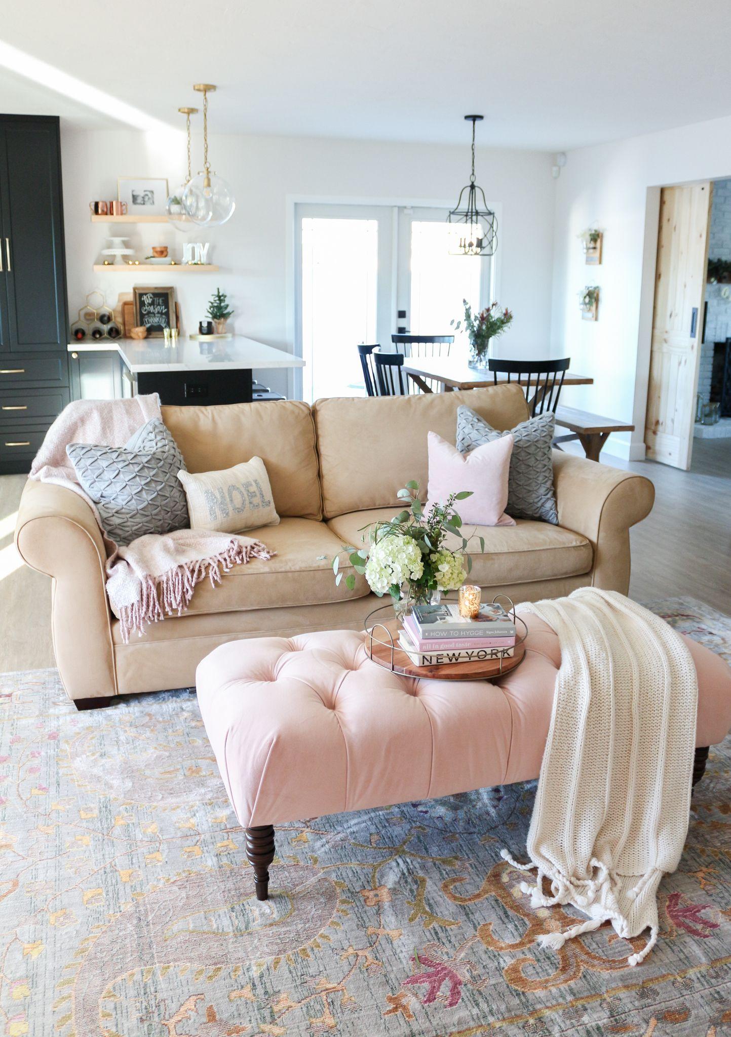 blush pink  rose gold christmas tour  pink living room