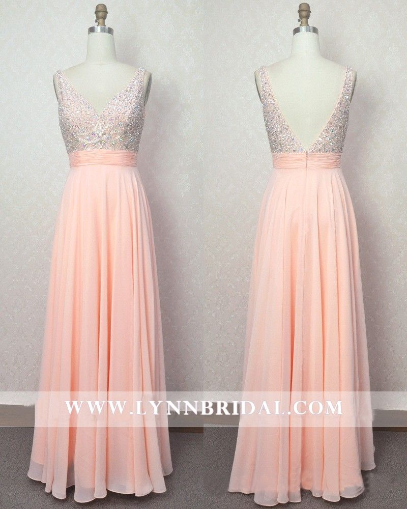 Peach long prom dress with jewel embellishments wedding fashion