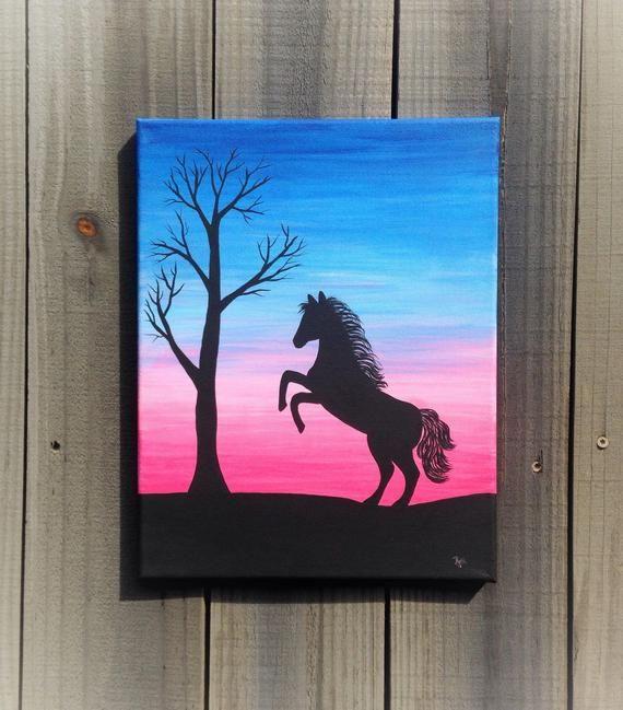 Silhouette art, 11x14 painting, animal wall art, h