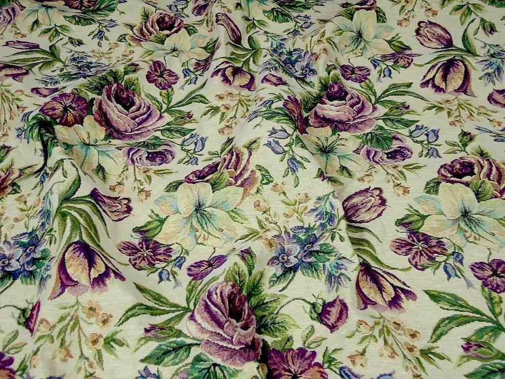 Designer Curtain Upholstery Fabric Cabbage Rose Floral Tapestry
