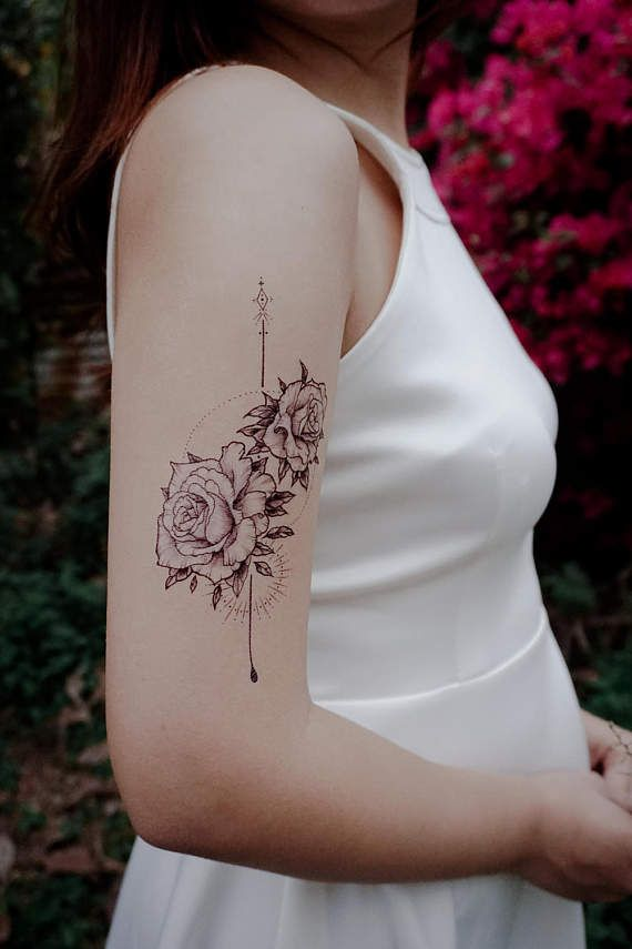 f10884e00 LAZY DUO Alchemist Tattoo Realistic Rose Tattoos Floral Tattoos Large  Flower tattoo artistic tattoo realistic temporary