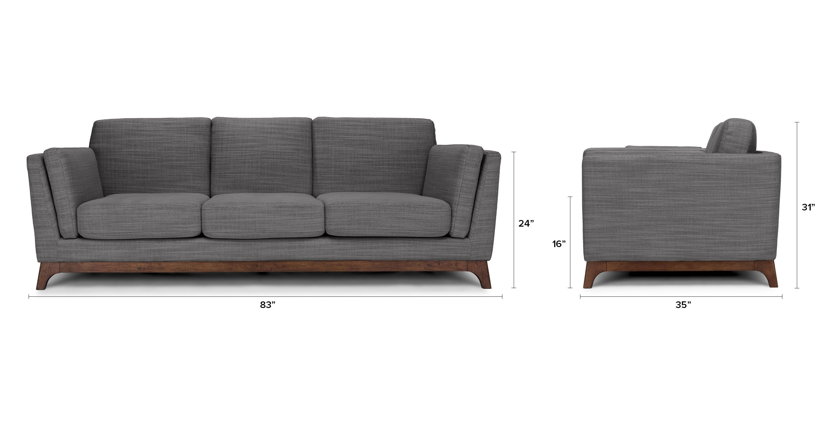 Modern Furniture Hawaii gray sofa - 3 seater with solid wood legs | article ceni modern