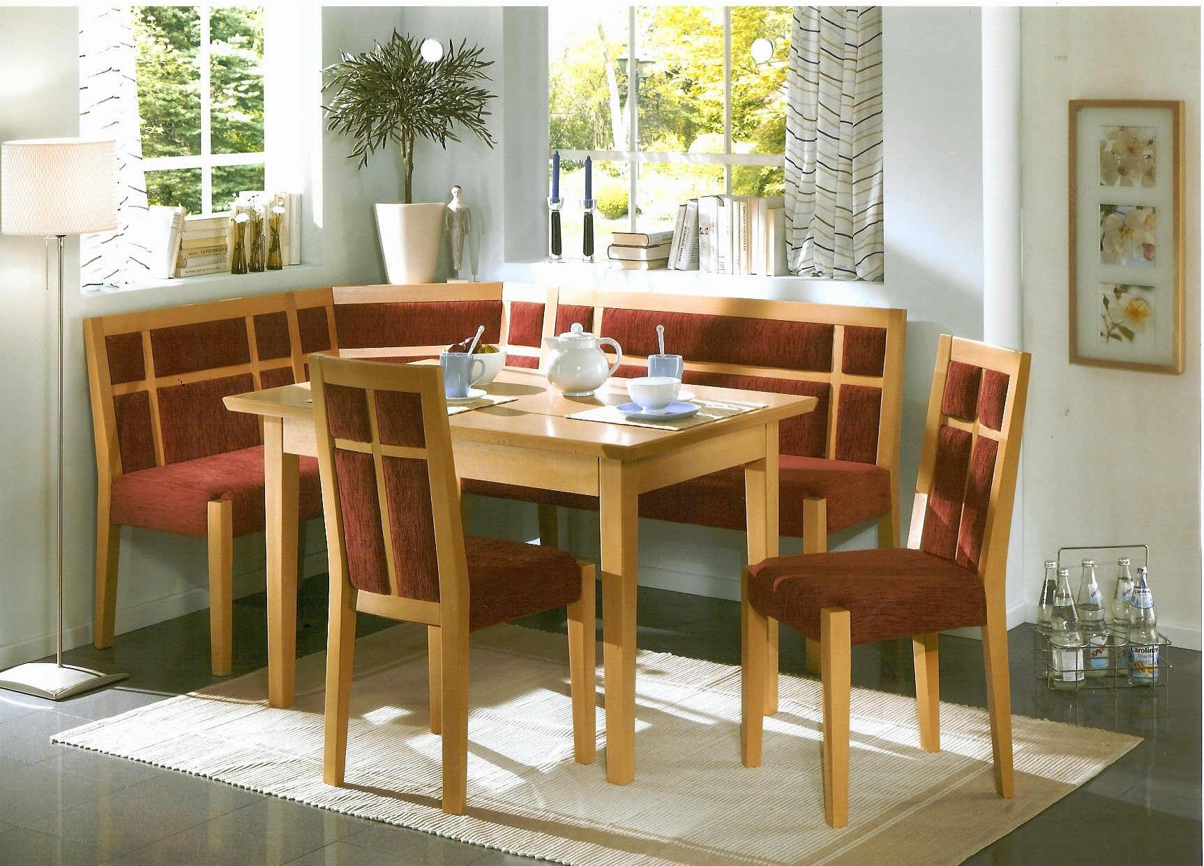 Solid Wood Farmhouse Stl Kitchen Nook Corner Bench Booth Dining Set - Kitchen table and chairs set with booth