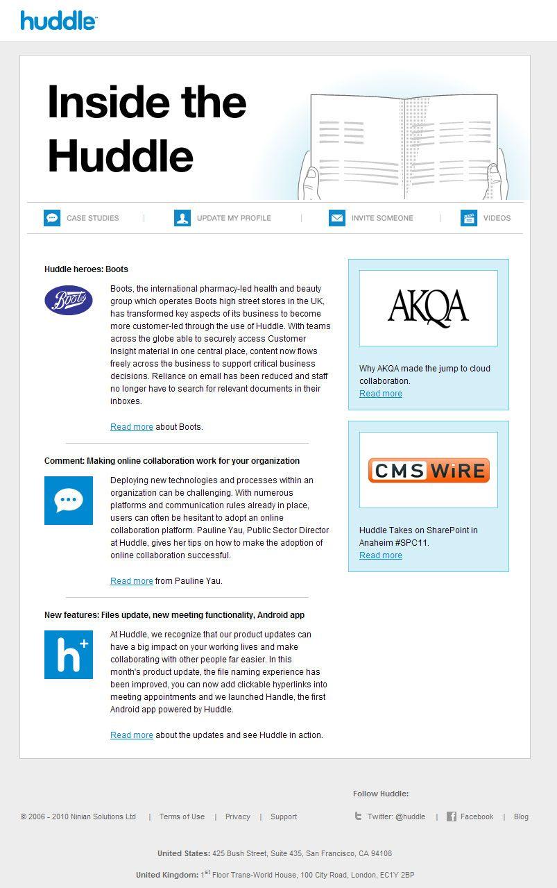 Email inspiration inside the huddle email design
