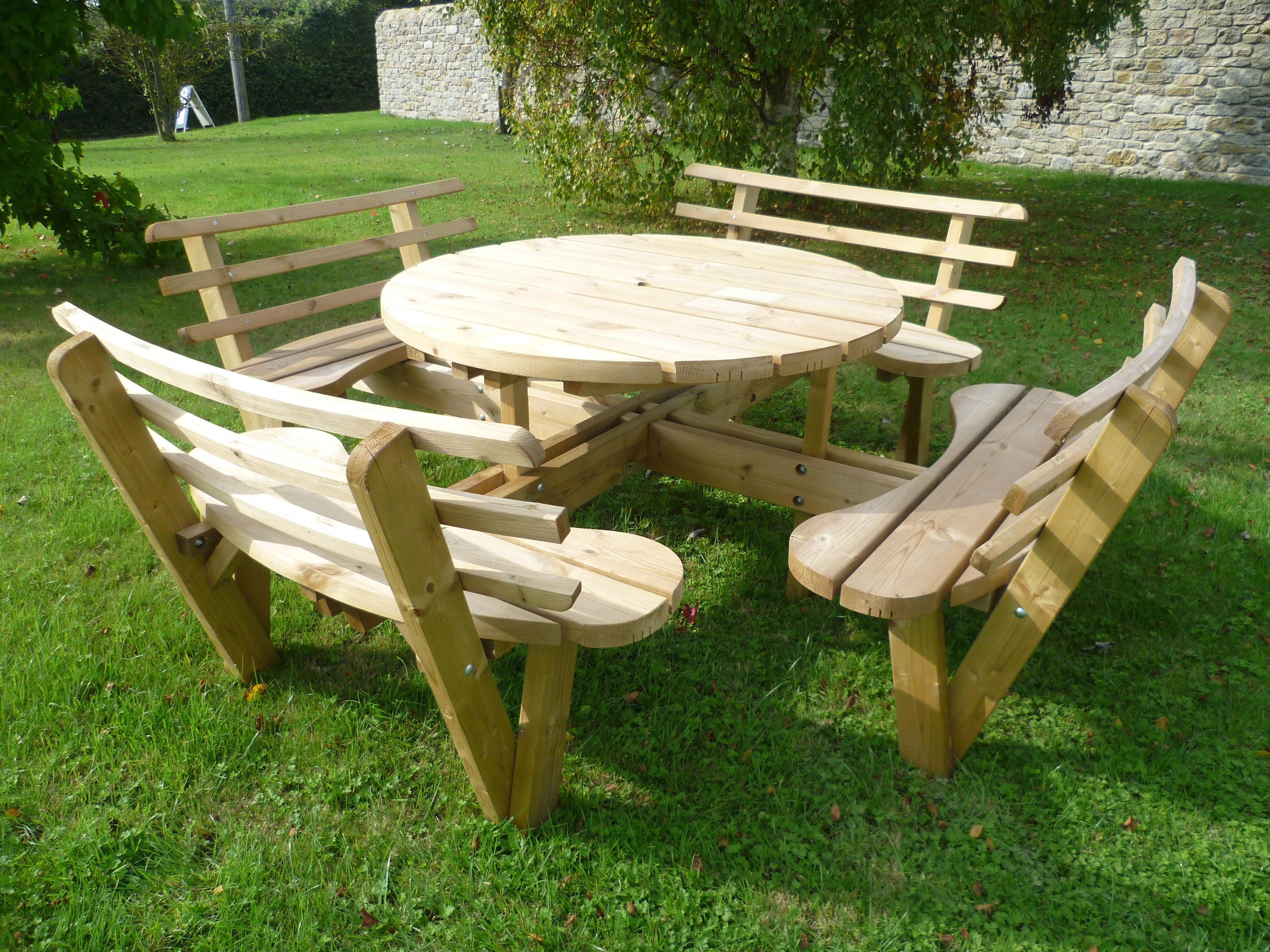 Round Wooden Picnic Table With Seat Backs Wooden Picnic Tables Picnic Table Picnic