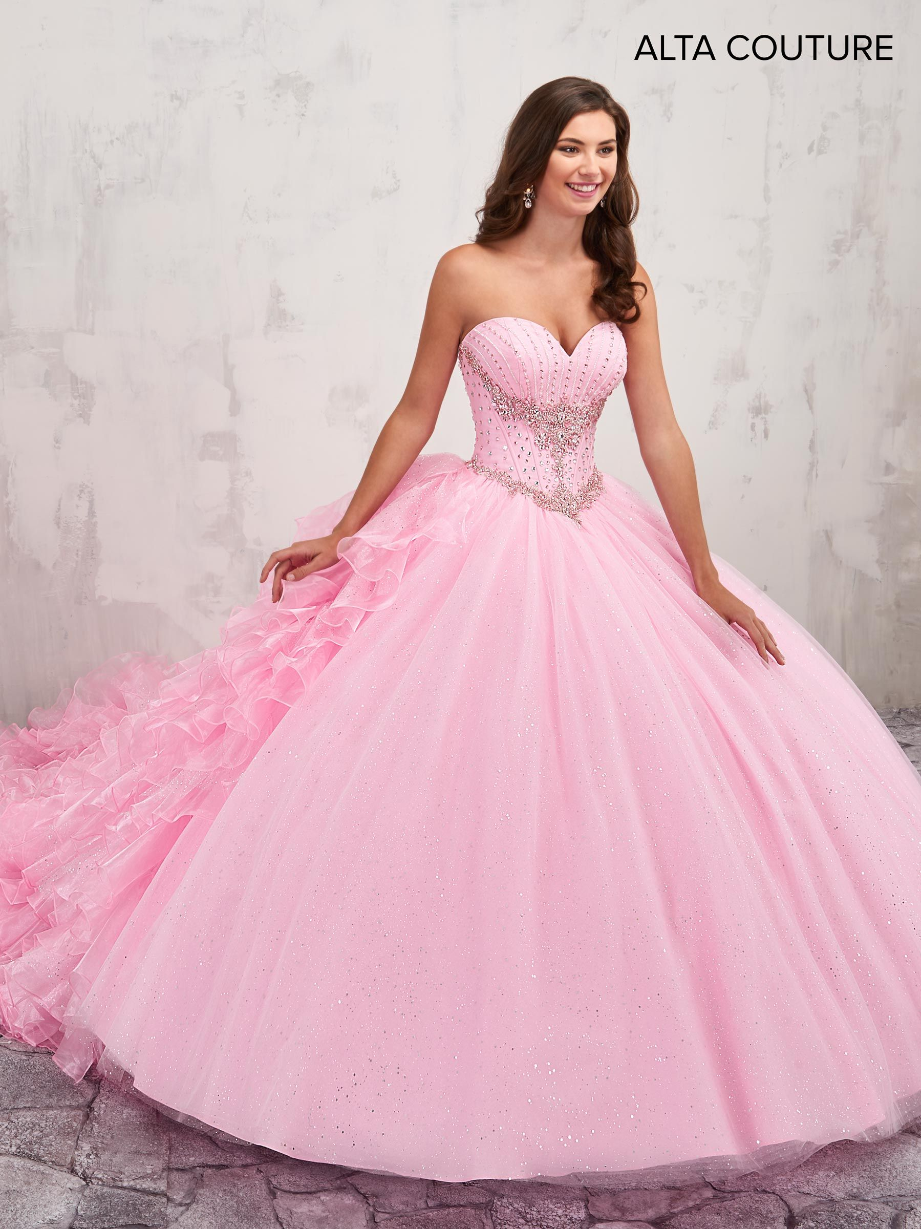 Strapless sparkling tulle quinceanera ball gown features sweetheart ...