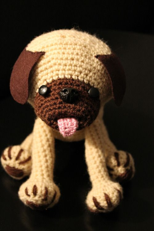 PUG PATTERN   !!! Attention!!! This is my first selfmade pattern, crochet at your own risk :-)   Materials black, brown, fawn, pink yarn 3.0mm crochet hook yarn needle fiberfill dark brown felt (for ears) 10mm button eyes 18mm plastic animal nose black embroidery floss (for attaching the ears) Abbreviations (U.S.): slst - slip stitch st - stitch sc - single crochet dec - decline HEAD AND BODY start with a sliding loop with black yarn for the mouth cavity R1: 8 sc into the ring, tighten…