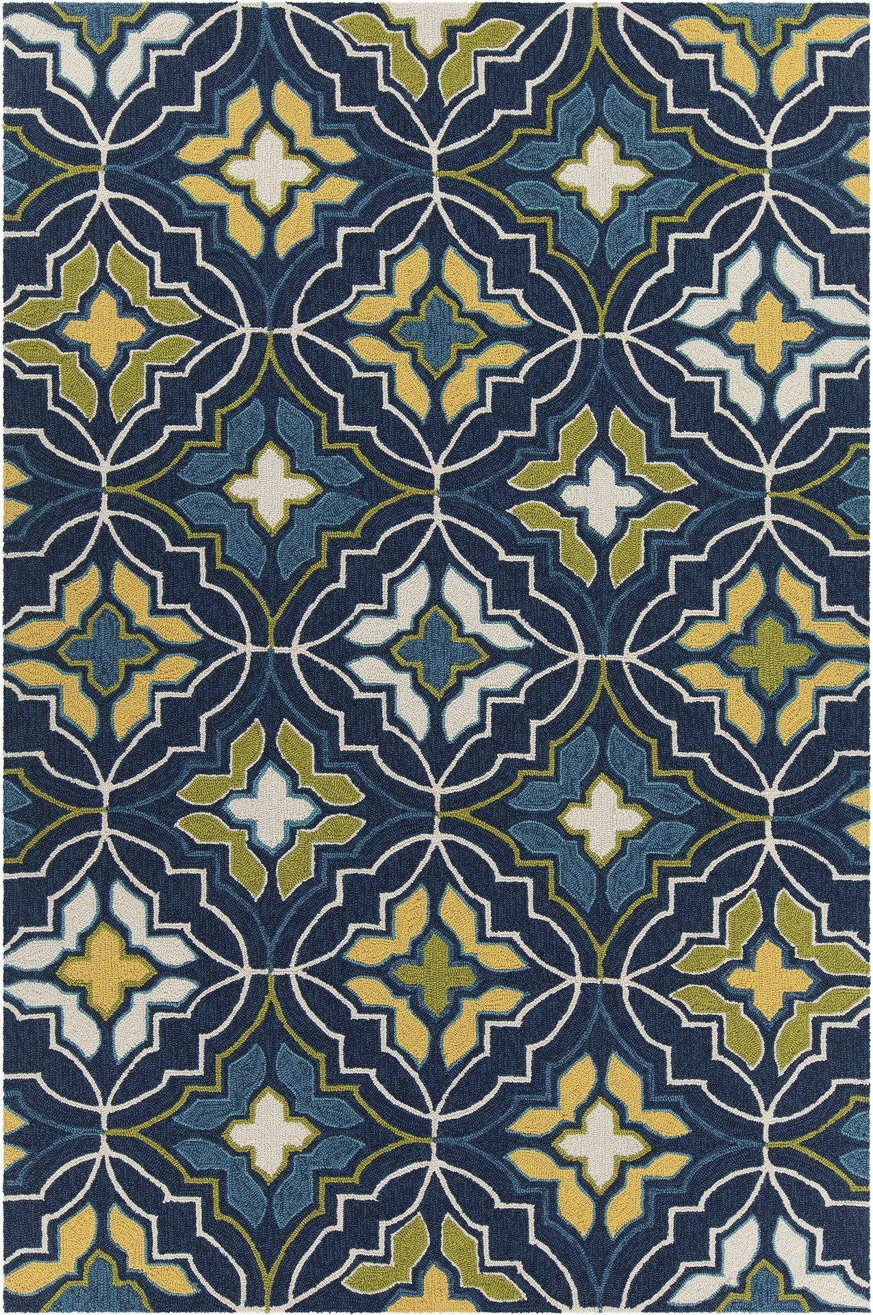 Terra Collection Hand Tufted Area Rug In Blue Green Yellow Cream Design By Chandra Rugs