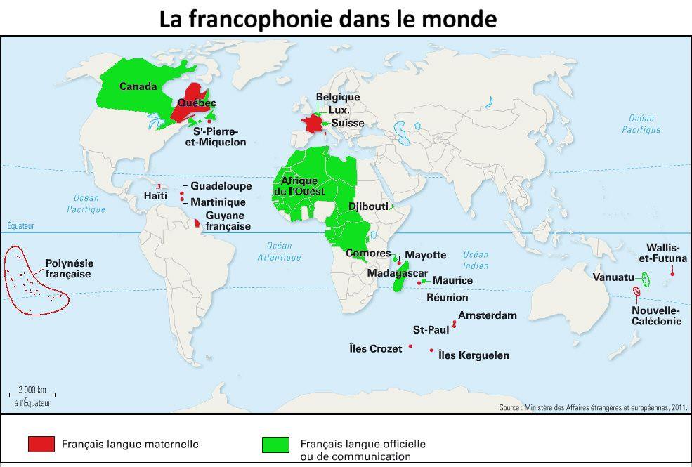 Francophonie monde carte de la francophonie Canada Quebec St