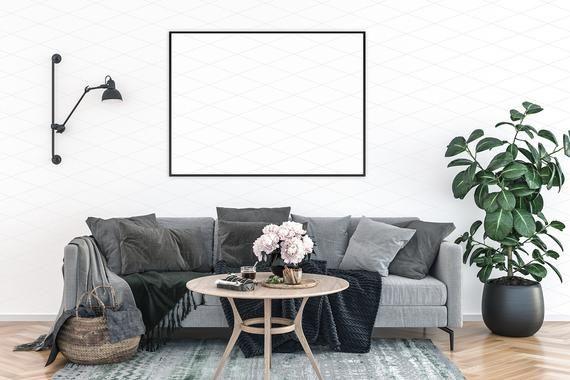 Interior mockup, Artwork Background, Blank wall, Wall art display, Room mock up, Scandinavian, Nordi