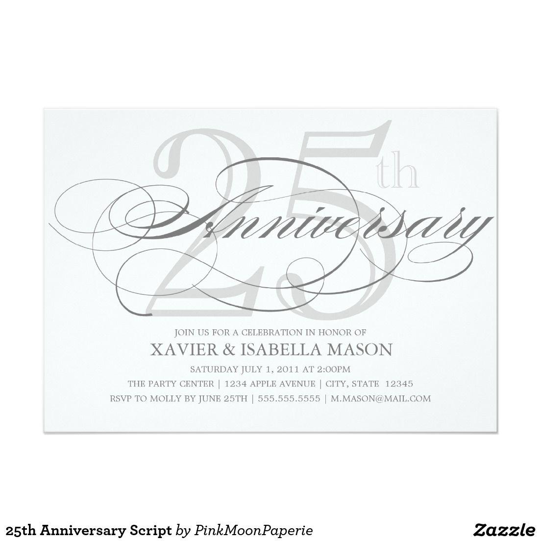 25th Anniversary Script Card | Silver wedding invitations and Weddings