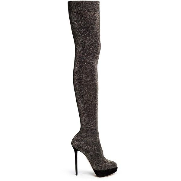 Charlotte Olympia 'More is More' glitter stocking thigh high boots ($700) ❤  liked on Polyvore featuring shoes, boots, black, over the knee stretch …
