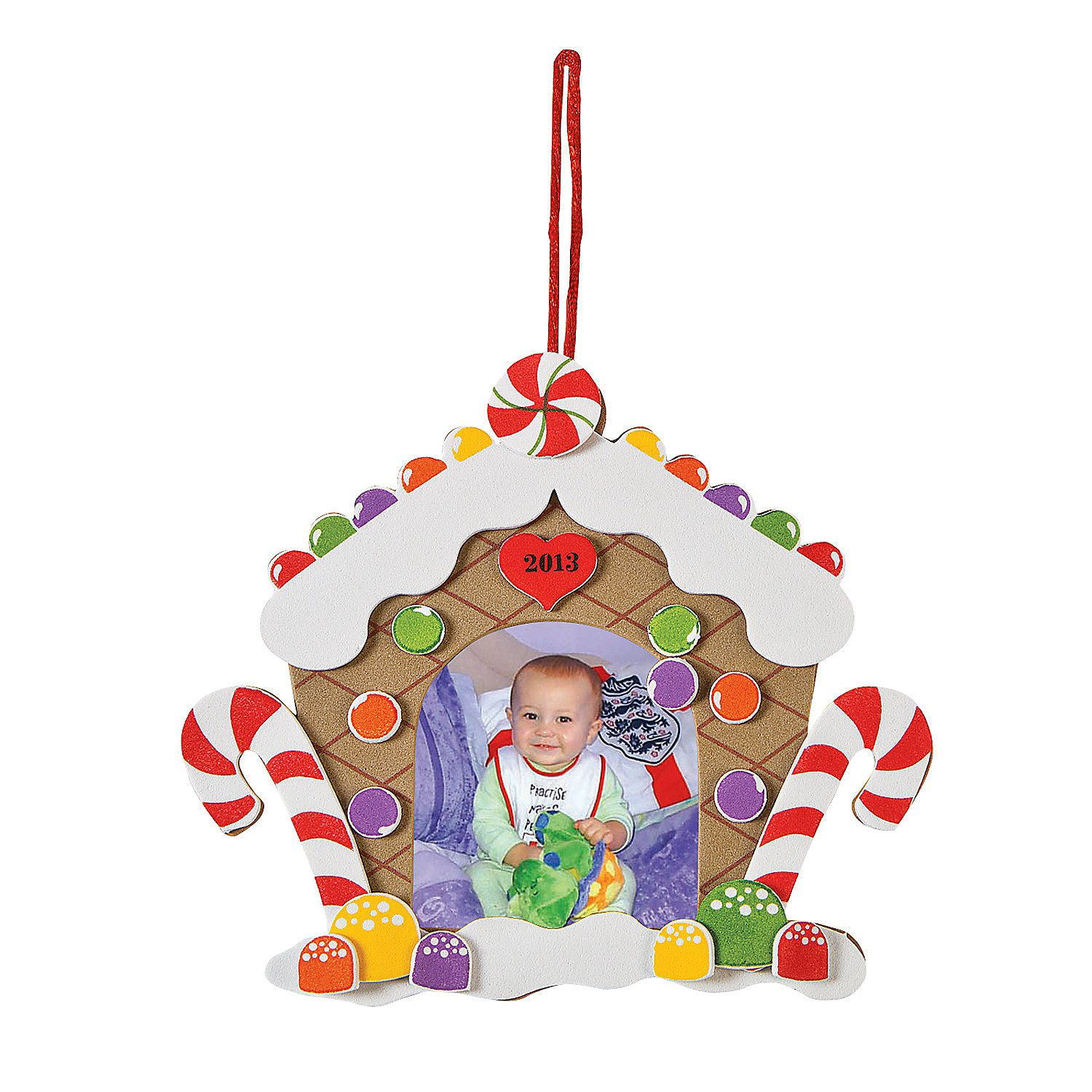 """This """"2013"""" Gingerbread House Photo Frame Ornament Craft"""
