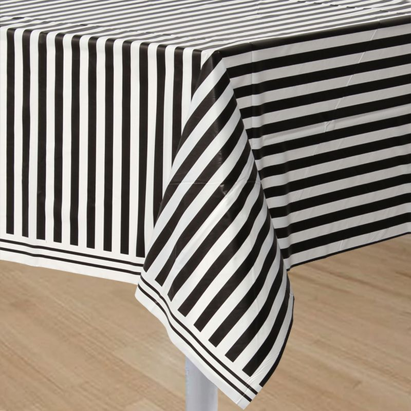 Black Stripe Table Cover Plastic 54x108in In 2019 Striped Table Table Covers Black Party Decorations