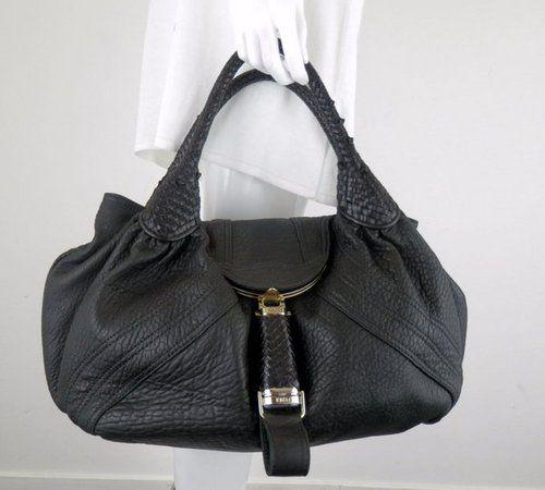 Fabulous Fendi Pebble Leather Black Flap Spy Shoulder Handbag Purse Sz Large   eBay