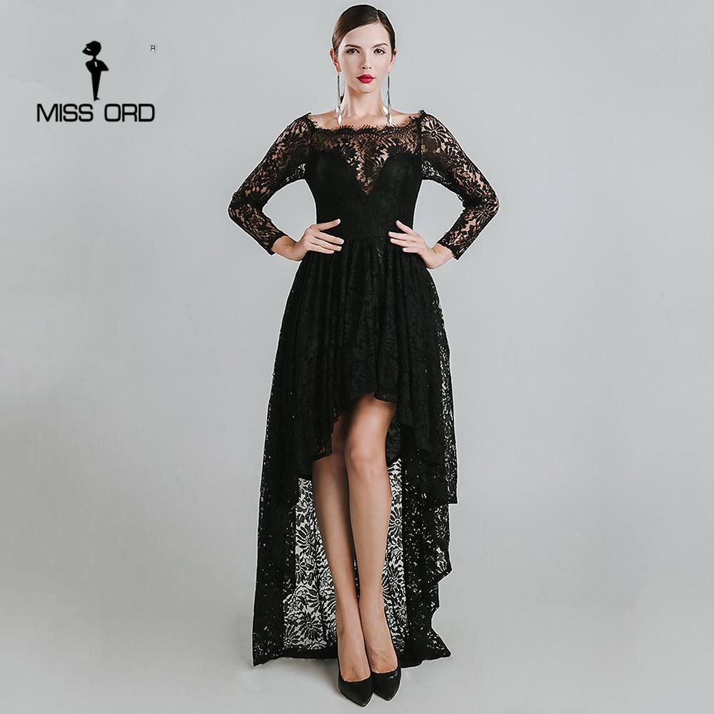 Miss ord sexy collar long sleeve lace stitching dress ft