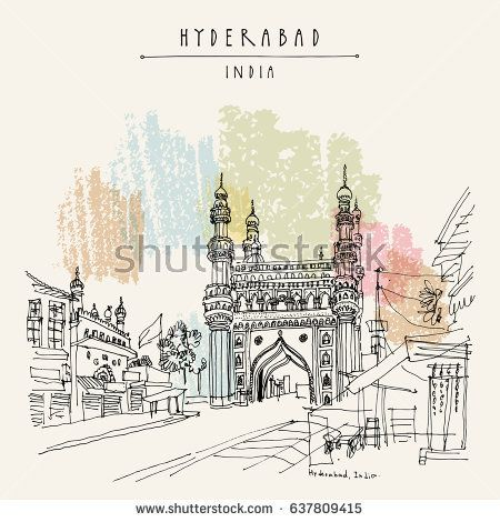 Hyderabad telangana state india charminar famous historical mosque travel sketch