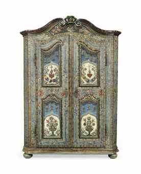 Swiss Polychrome Painted Pine Armoire, C