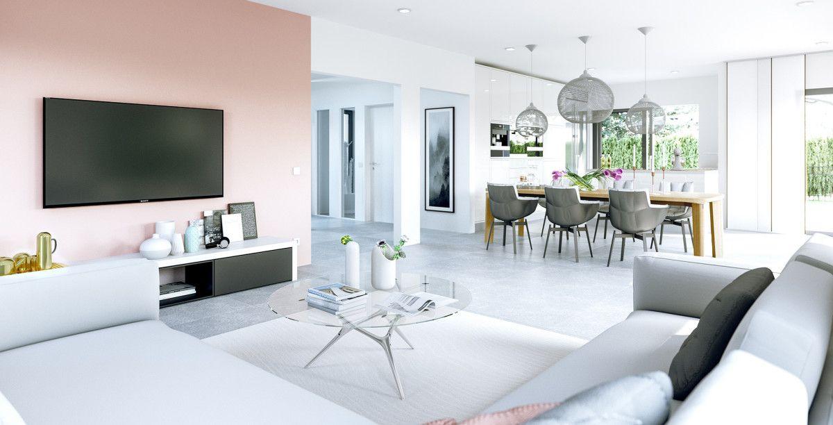Eintrichtungsideen Wohnzimmer Grau Weiß Rosa   Haus Concept M 167 Bien  Zenker   HausbauDirekt.