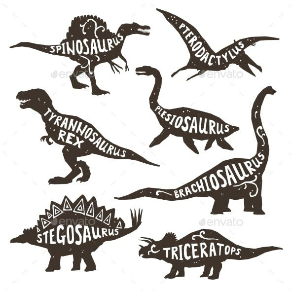 Dinosaurs Silhouettes with Lettering - Decorative Symbols Decorative #dinosaur