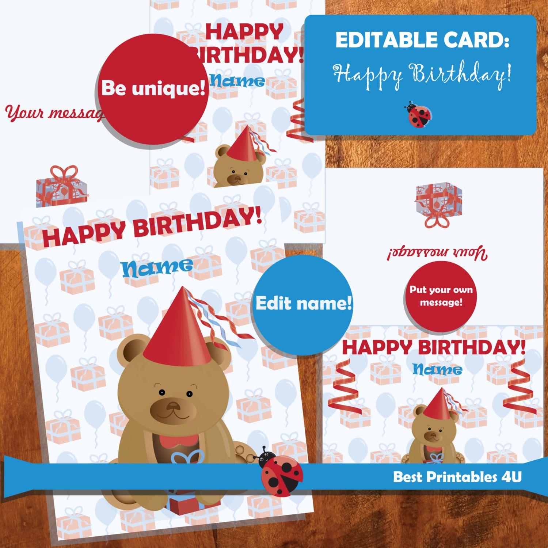 SALE Printable EDITABLE Birthday Card Teddy Bear Editable Kids