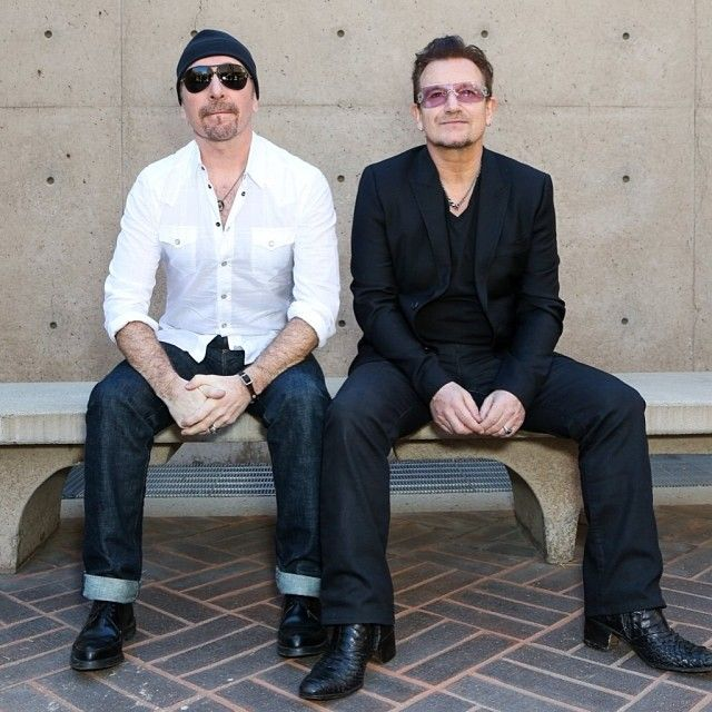 Edge and Bono at the Palm Springs film fest. January 2014.  From u2news on Instagram.