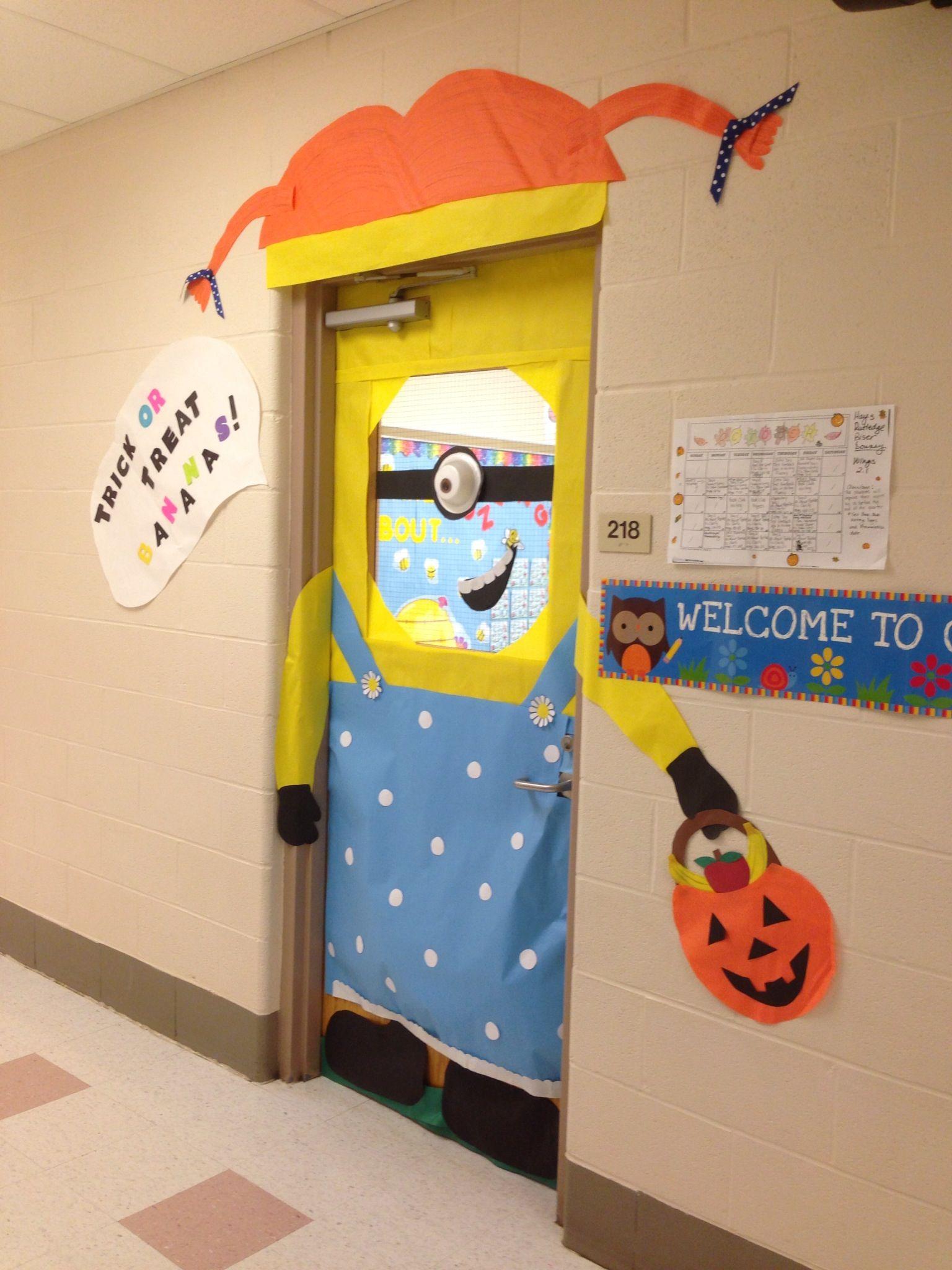 Halloween Decorations Classroom Door : Halloween minion classroom door decoration