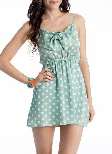 polka dot sea foam green dress