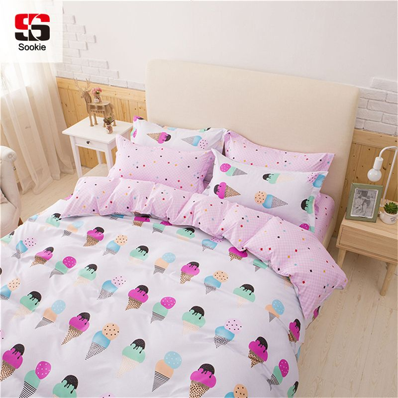 d4b15ce9a3cf Sookie Pretty Pink 3pcs Bedding Sets for Girls Ice Cream Printed 4pcs Duvet  Cover Set Pillowcases