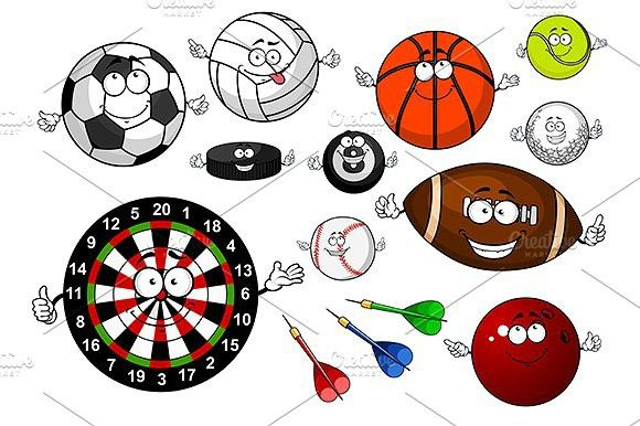 Cartoon Sport Items And Equipment Sport Icons 9 00 Sports Games Game Item Sports