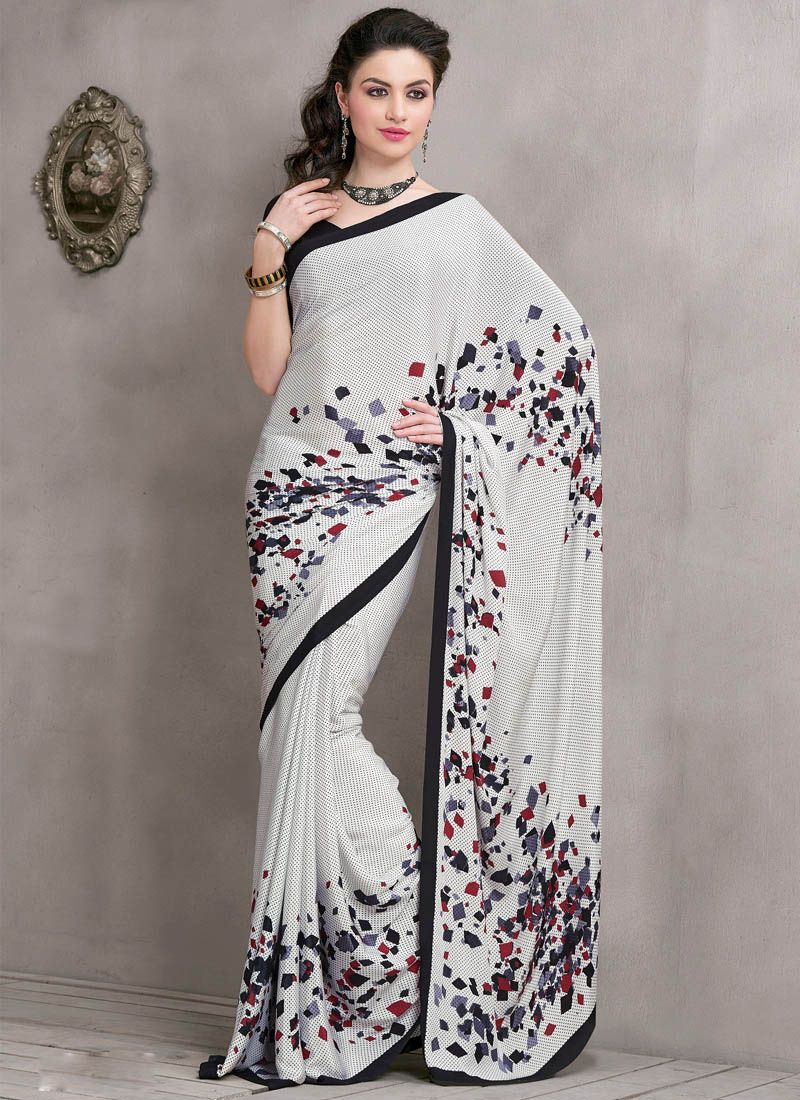 Off-White Printed Crepe Silk Saree | Off white saree, Saree, White saree