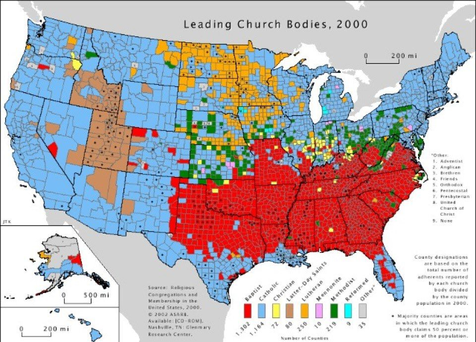 26 Issues The United States Are Not Totally United On Religion - new world map by population