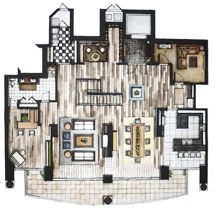 Love This Colored Floor Plan Hand