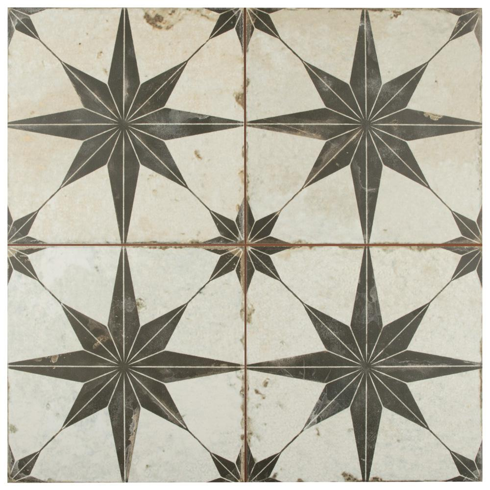 Merola Tile Kings Star Nero 17 5 8 In X17 5 8 In Ceramic Floor And Wall Tile 11 02 Sq Ft Case Fpestrn The Home Depot Ceramic Floor Wall And Floor Tiles Merola Tile