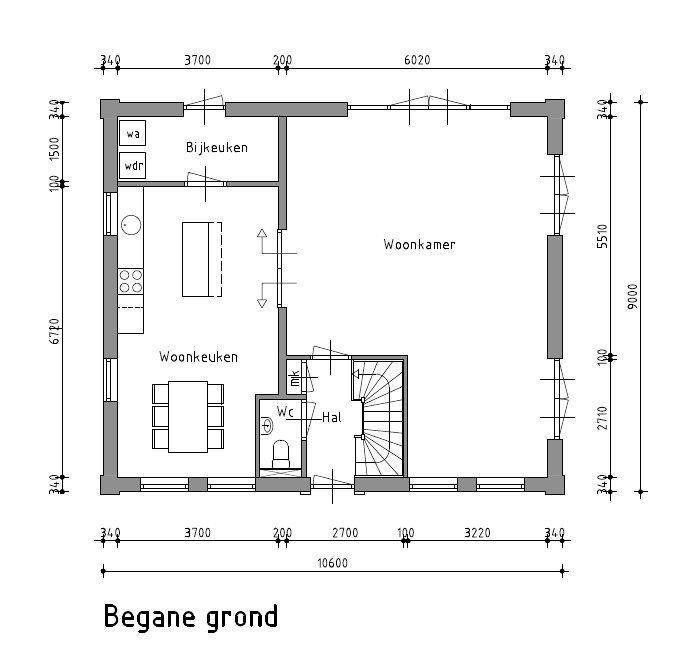 plattegrond woning woonkeuken - Google zoeken - doorsnede maken ...