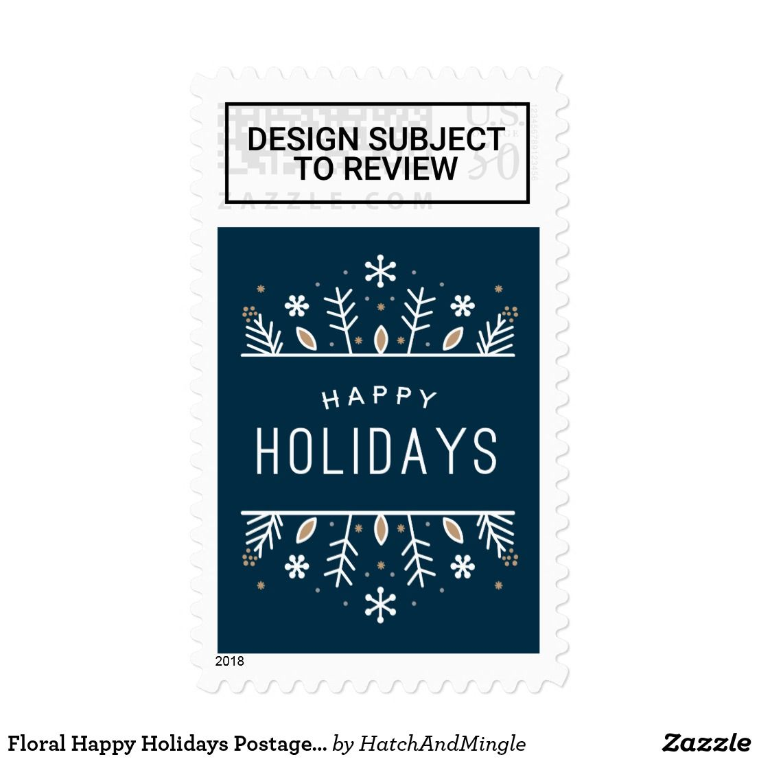 Floral Happy Holidays Postage Stamp Happy Holidays Pinterest