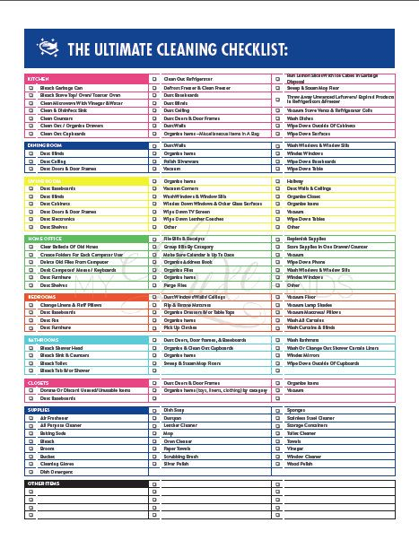 The Ultimate House Cleaning Checklist Printable Pdf | Cleaning